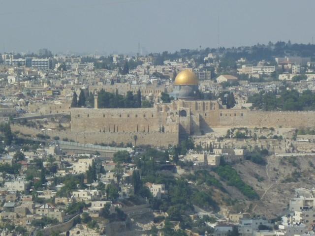 Jerusalem von Osten. In der Mitte der Felsendom